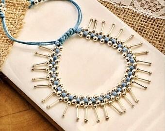 Beaded bracelet; Boho Fringe, silver, glass and cord, woven, bracelet