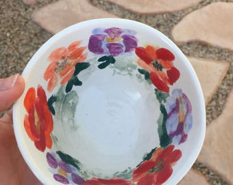 Charming Hand Thrown, Hand Painted Floral Dish