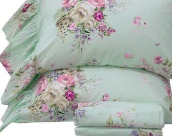 Bed Sheets Sets Green Floral Sheets Cotton Bedding Set Twin/Full/Queen/King Size