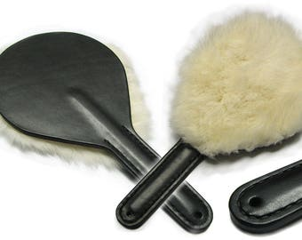 Premium paddle paddle with Kaninchefell fur rabbit fur whip Sugar bread & Whip bdsm spanking Blow tool