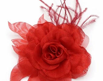 Red color feather and organza fabric flower brooch.
