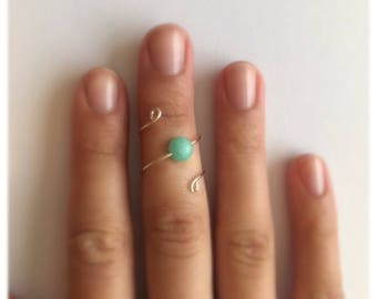 Turquoise Malaysian Jade spiral wire wrap ring
