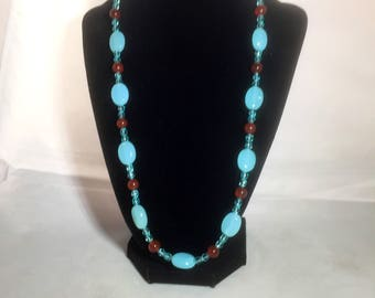 Handmade Southwest-inspired blue chalcedony and carnelian necklace