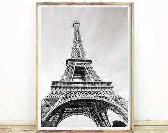Eiffel Tower Print, Paris Wall Art, Black & White Home Decor, Large Printable Poster, Instant Download, Minimalist, #500