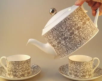 Kinky/fetish print teapot with two cups and saucers, exclusive tea set, limited edition, bone china, made in the UK