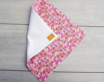Washable tissue lined 100% cotton pink and orange flower