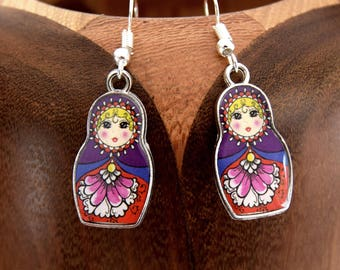 Purple matryoshka, matryoshka purple clip earrings