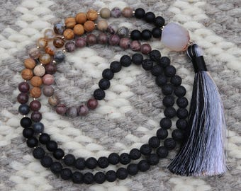 Long beaded multi gemstone necklace with color block tassel