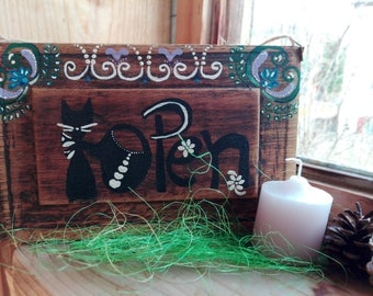 OPEN/CLOSE PAINTING, Open/Close Decor, Vintage Decor, Birthday gift, Open/Close, Wood sign, Log cabin art, Gift for her, gift for him, Wood