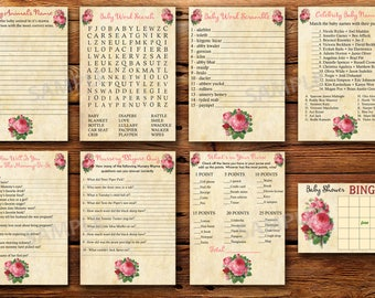 Floral baby shower games package, flowers baby shower games, roses baby shower games package ,vintage baby shower games, instant download