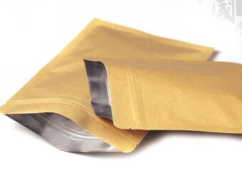 100pcs small 3 sizes kraft paper bag food packaging bags ,ziplock coffee sample package bags           6x8cm         7x10cm         8x11cm