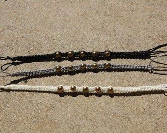 Gold Beaded Macrame Bracelets (White, Black, Grey)