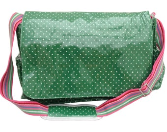 Izzy Rose Boutique/Pickles&Posy Oil Cloth Wipeable Nappy Changing Diaper Bag in Green Polkadot Padded Changing Mat Bottle Holder Shabby Chic