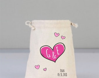 Hot Pink Heart, Love, Love Gift, Love Wedding Favor, Thank You Gift, Wedding Gift, Personalize Bag,  Bridal Bag, Drawstring Cotton Bag
