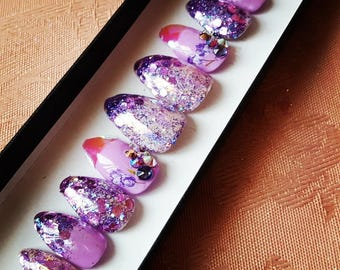 Dancing Queen Nail set- fake nails, false nails, press on nails, iridescent, glitter, swarovski crystals