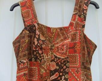 Vintage 1970,s Maxi Evening dress fantastic hippy boho fabric