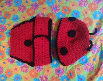 Baby lady bug hat and diaper cover
