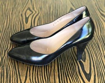 1980's Bruno Magli Vero Cuoio Black Pumps | Vintage Pumps | Women's Heels | Size 9.5