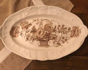 Antique England's Charlottle Transfer Tureen Platter