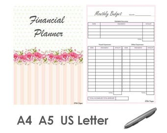 Financial Planner 2017 Organizer Printable PDF A4 A5 US Letter Sizes Pink Color
