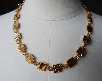 Biche de Bere French Designer Geometric Goldtone Necklace