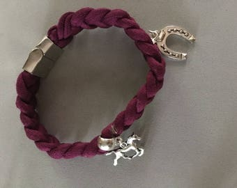 Fabric braided bracelet with charms
