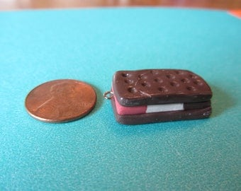 Neapolitan Ice Cream Sandwich Polymer Clay Charm