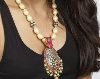 Beaded Jewellery- Cream and Maroon