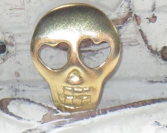 Brass Sugar Skull Button, Skull Button, Heart Skull Button