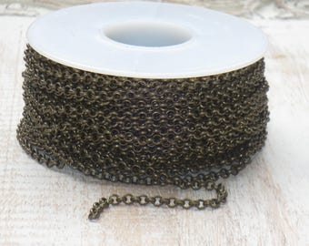 3mm Rolo Chain in Antique Brass