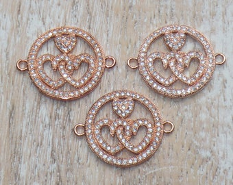 Pave Cz Rose Gold Connected Hearts Link-Heart Connector-Heart Charm