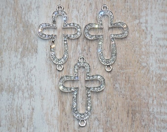 Pave Cz Cut Out Cross Connector/Link- Cross Link