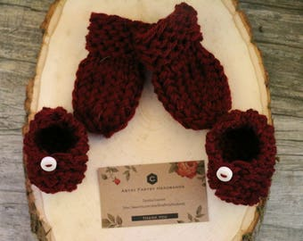 Burgundy Knit Mittens and Booties for Newborns