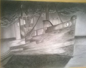 Run aground, charcoal drawing.