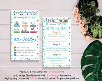 PERSONALIZED Rodan Fields, Rodan and Fields Mini Facial Card, Rodan and Fields Business Card, Intensive Renewing Serum, Digital files RF16