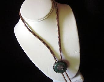 Leather Bolo with Sterling Silver slider with Green Jade center