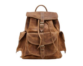 ISIDORA LARGE Waxed Leather Backpack - Knapsack from Full Grain Leather