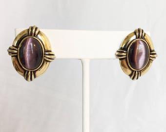 Avon Faux Amethyst Cabochon Earrings, Antiqued Gold Tone, Pierced, Vintage, 1980s