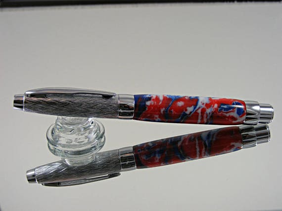 Contemporary Fountain Pen in Etched Chrome and Acrylic