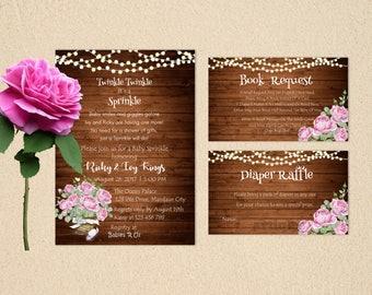 Personalized Rustic Baby Shower Sprinkle Party Invitation Book Request Diaper Raffle Watercolor Roses Lights Printable DIY - Digital File
