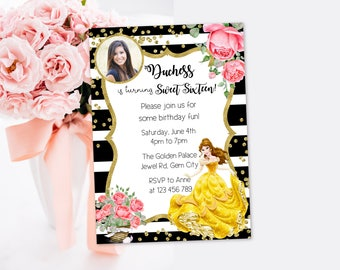 Personalized Belle Beauty and the Beast 16th 18th 18 Birthday Party Photo Card Invitation Invite Black Stripes Gold Rose Flowers Watercolors