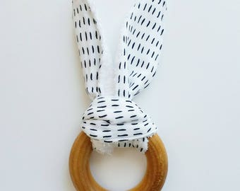Natural Maple wood teether, Wooden teething ring, Teething toy, Bunny teether, Wood teether, Baby teether