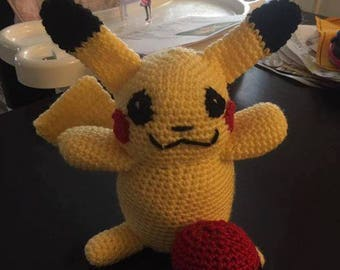 Crochet Pikachu with Pokeball