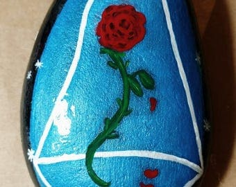 Disney Inspired, Beauty and the Beast, Belle, Hand painted Enchanted Rose, River Rock, Stone, Paperweight, Gift, Decor