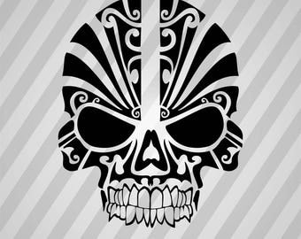 Tribal Skull Silhouette  - Svg Dxf Eps Silhouette Rld Rdworks Pdf Png Ai Files Digital Cut Vector File Svg File Cricut Laser Cut