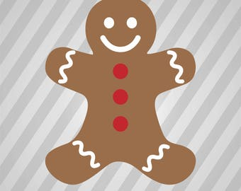 Gingerbread Man - Svg Dxf Eps Silhouette Rld Rdworks Pdf Png Ai Files Digital Cut Vector File Svg File Cricut Laser Cut
