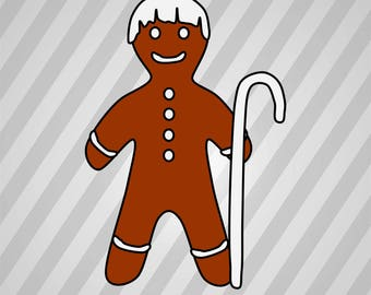 Gingerbread Silhouette - Svg Dxf Eps Silhouette Rld Rdworks Pdf Png Ai Files Digital Cut Vector File Svg File Cricut Laser Cut