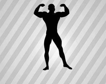 muscle man Silhouette - Svg Dxf Eps Silhouette Rld RDWorks Pdf Png AI Files Digital Cut Vector File Svg File Cricut Laser Cut