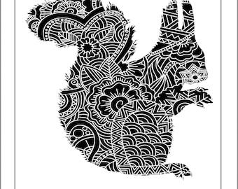 Squirrel Papercut Template - Svg Paper Cut Templates Stencil Line Art Henna Mandala Pdf Cut Files Digital Clip Art Drawing