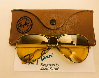 6efc1922cb ... sunglasses e0739 cbdde  canada vintage aviator double mirrored ambermatic  ray ban 58mm bausch lomb bl usa w case 4b2e0